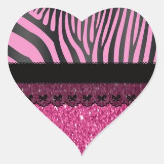 Beautiful elegant girly  zebra lace glitter heart sticker