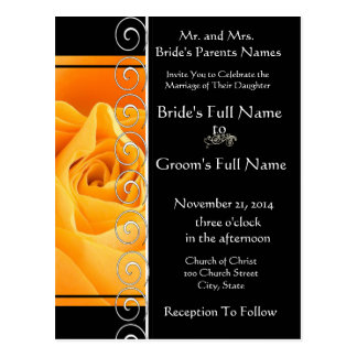 Beautiful Elegant Orange Rose Wedding Invitation Postcards