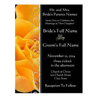 Beautiful Elegant Orange Rose Wedding Invitation Post Card