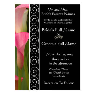 Beautiful Elegant Pink Cala Lily Invitation Postcard