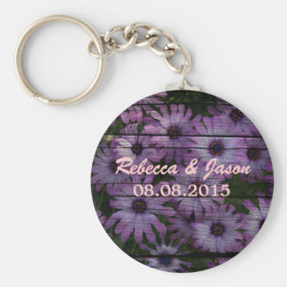 Beautiful elegant purple daisy  floral design keychain