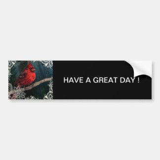 Beautiful elegant red cardinal and lace design bumper sticker