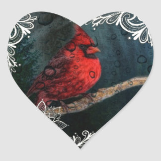 Beautiful elegant red cardinal and lace design heart sticker