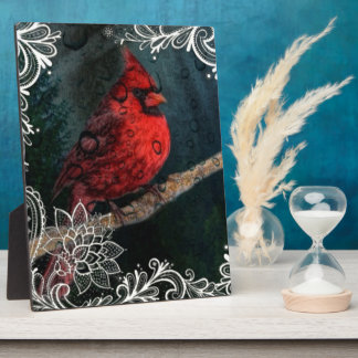Beautiful elegant red cardinal and lace design plaques