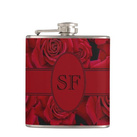Beautiful & Elegant Red Rose Bloom – Monogram Flask