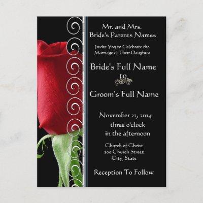 Beautiful Elegant Red Rose Wedding Invitation Postcard by samack