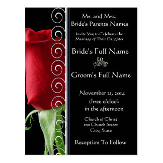 Beautiful Elegant Red Rose Wedding Invitation Postcard