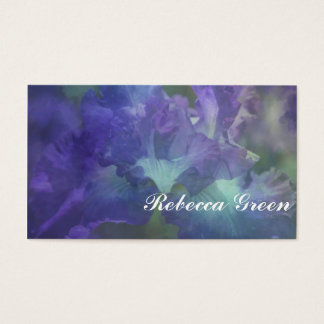 Beautiful elegant soft purple and blue iris business card