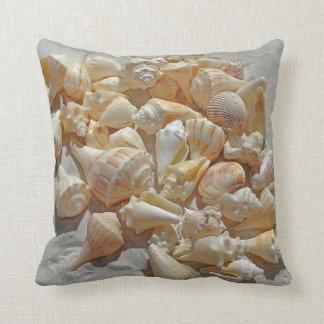 beautiful elegant summer beach sand shells throw pillow