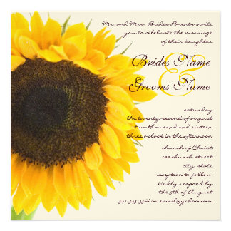 Beautiful Elegant Sunflower Wedding Invitation
