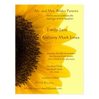 Beautiful Elegant Sunflower Wedding Invitation Postcard