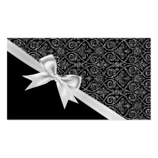 Beautiful elegant trendy black and white damask business card