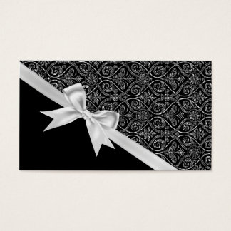 Beautiful elegant trendy black and white damask business card