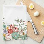 Beautiful elegant vintage spring floral bouquets kitchen towels