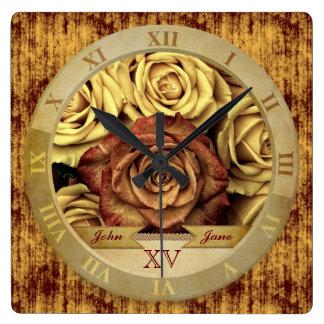 Beautiful Elegant Vintage Yellow Roses Gold Ribbon Wall Clocks