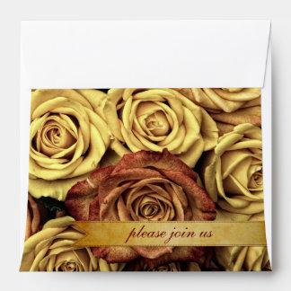 Beautiful Elegant Vintage Yellow Roses Gold Ribbon Envelope