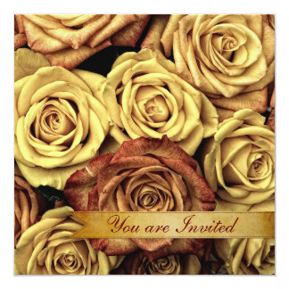 Beautiful Elegant Vintage Yellow Roses with Ribbon Card
