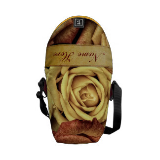 Beautiful Elegant Vintage Yellow Roses with Ribbon Courier Bag