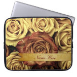 Beautiful Elegant Vintage Yellow Roses with Ribbon Computer Sleeves