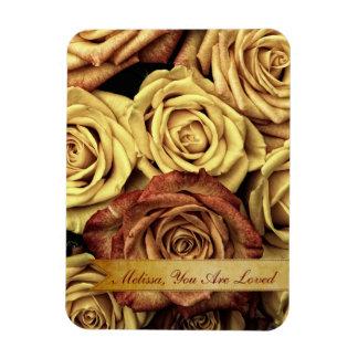 Beautiful Elegant Vintage Yellow Roses with Ribbon Magnet