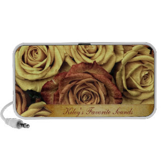 Beautiful Elegant Vintage Yellow Roses with Ribbon Portable Speaker