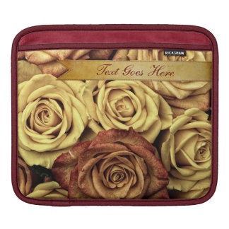 Beautiful Elegant Vintage Yellow Roses with Ribbon Sleeve For iPads