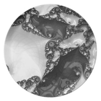 Beautiful Elegant White&Black Lace Fractal Plates