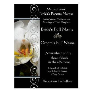 Beautiful Elegant White Orchid Wedding Invitation Postcard