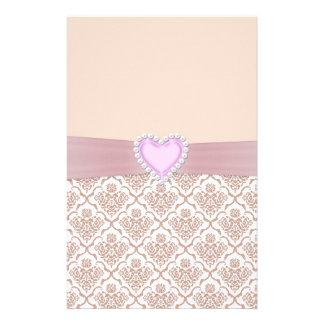 Beautiful elegant white pearls effect heart customized stationery