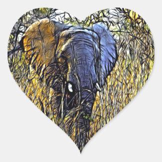 Beautiful  Elephant In The Wild Heart Sticker