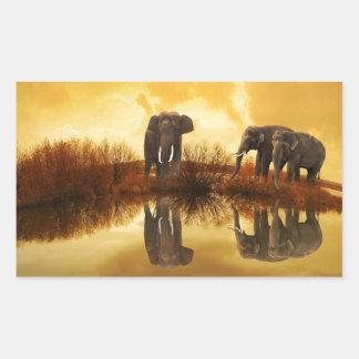 beautiful elephant Thailand sunset Rectangular Sticker
