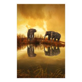 beautiful elephant Thailand sunset Stationery