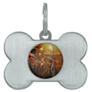 Beautiful elf flying in the sunset pet tags