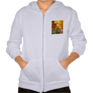 Beautiful elf sitting in the garden with flowers hooded pullover