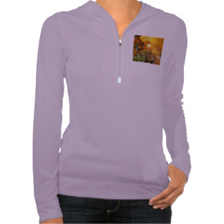 Beautiful elf sitting in the garden with flowers hooded sweatshirt