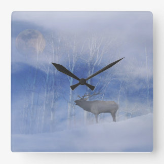 Beautiful Elk and Snow with Full Moon Clock