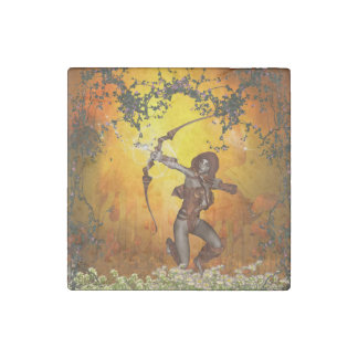 Beautiful elves with bow and arrow stone magnet