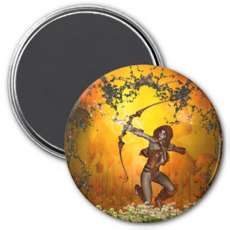 Beautiful elves with bow and arrow fridge magnet