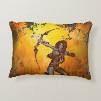 Beautiful elves with bow and arrow accent pillow