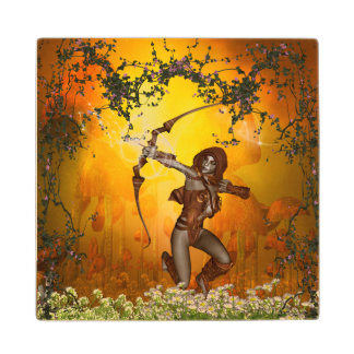 Beautiful elves with bow and arrow wood coaster