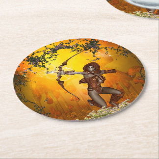 Beautiful elves with bow and arrow round paper coaster