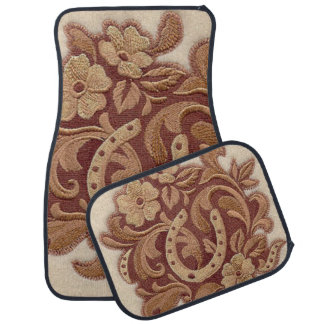 Beautiful Embroidery Flowers and Horseshoes Car Floor Mat
