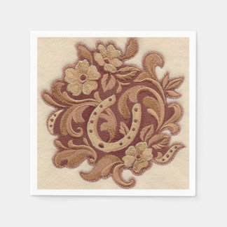 Beautiful Embroidery Flowers and Horseshoes Paper Napkin