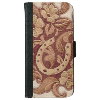 Beautiful Embroidery Flowers and Horseshoes Wallet Phone Case For iPhone 6/6s