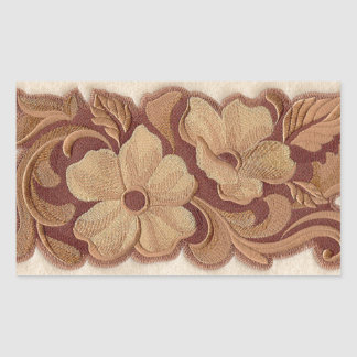 Beautiful Embroidery Flowers Rectangular Sticker