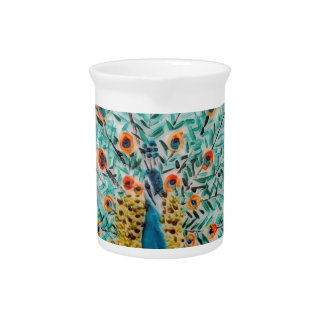 Beautiful Emerald Green and Turquoise Peacock Beverage Pitcher