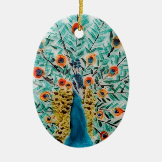 Beautiful Emerald Green and Turquoise Peacock Ceramic Ornament