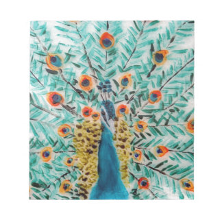 Beautiful Emerald Green and Turquoise Peacock Notepad
