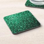Beautiful Emerald Green glitter sparkles Drink Coaster