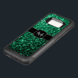 "Beautiful Emerald Green glitter sparkles Monogram OtterBox Commuter Samsung Galaxy S8 Case<br><div class=""desc"">Personalize with your initial and name. Trendy OtterBox phone case: Beautiful girly glamorous Smaragd green shiny glitter sparkles. Photo of Green sparkles not actual glitters!</div>"